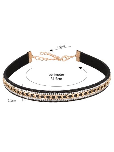 Faux Leather Rhinestone Chain Choker Necklace - BLACK  Mobile
