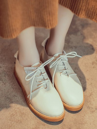 Stitching Tie Up Round Toe Flat Shoes - APRICOT 39 Mobile