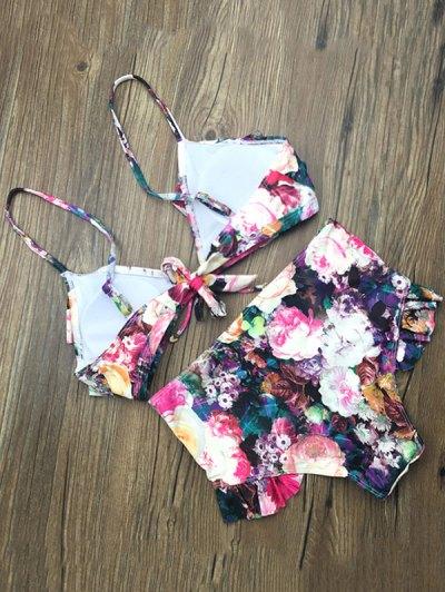 Front Tie Floral Ruffle Hem Bikini Set - FLORAL XL Mobile