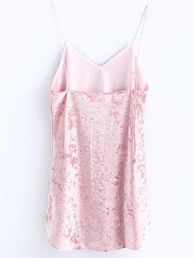 Crushed Velvet Cami Dress - PINK M Mobile