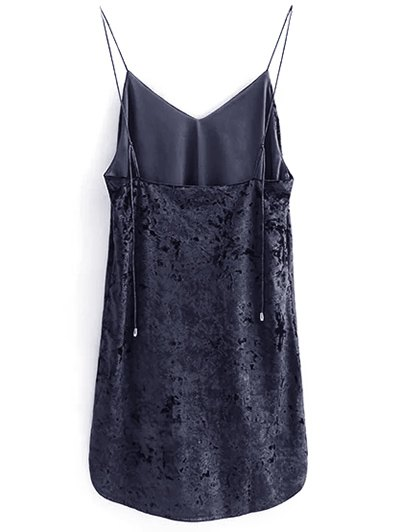 Crushed Velvet Cami Dress - BLACK M Mobile