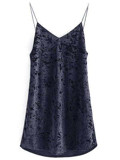 Crushed Velvet Cami Dress - BLACK S Mobile