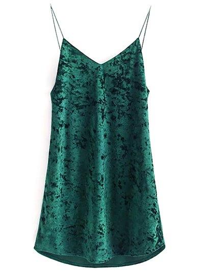 Crushed Velvet Cami Dress - BLACKISH GREEN M Mobile