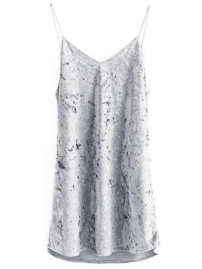 Crushed Velvet Cami Dress - GRAY S Mobile
