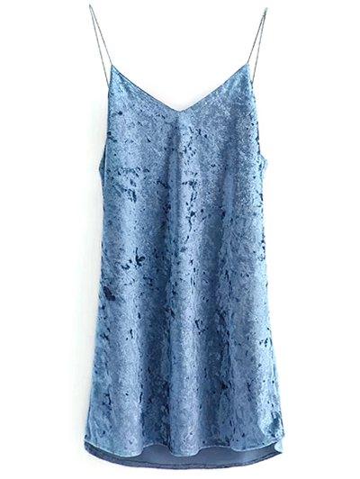 Crushed Velvet Cami Dress - LIGHT BLUE S Mobile