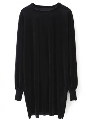 Long Sleeve Velvet Straight Dress - Black