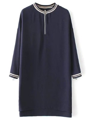 Half Zip High-Low Straight Dress - Purplish Blue