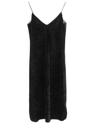 Elastic Strap Midi Velvet Dress - Black
