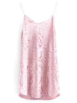 Crushed Velvet Cami Dress - Pink