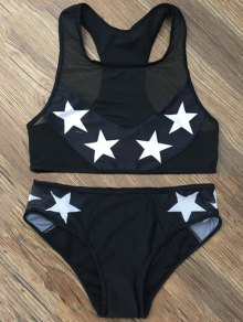 Star Mesh Panel Racerback Transparent Swimsuit - Black