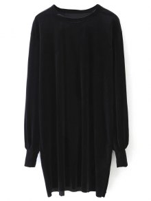 Long Sleeve Velvet Straight Dress