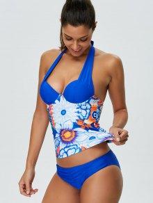 Halter Floral Underwire Tankini Set - BLUE L