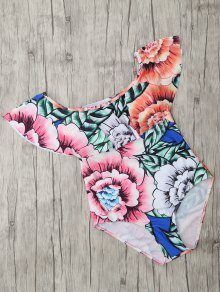 Square Neck Floral Print One Piece Swimsuit - Floral L