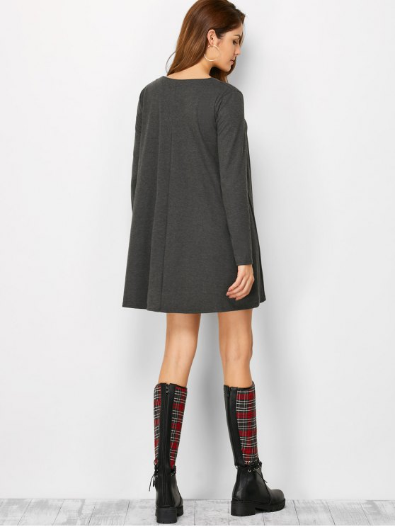 Long Sleeve Smock Mini Dress - DEEP GRAY XL Mobile