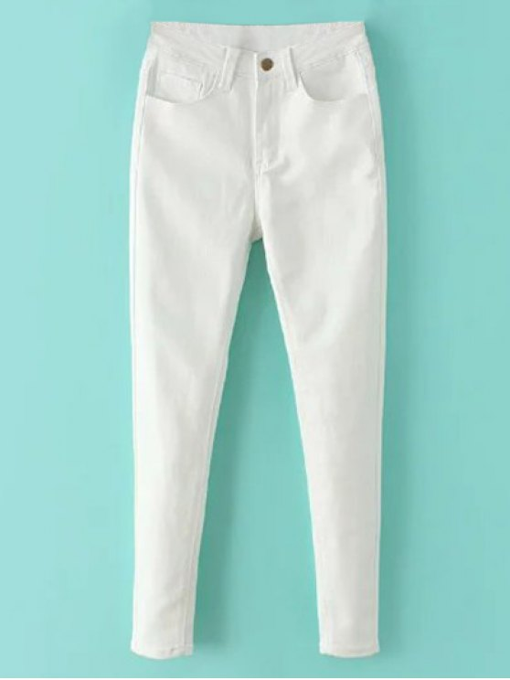High Waisted Zip Fly Jeans - WHITE XL Mobile