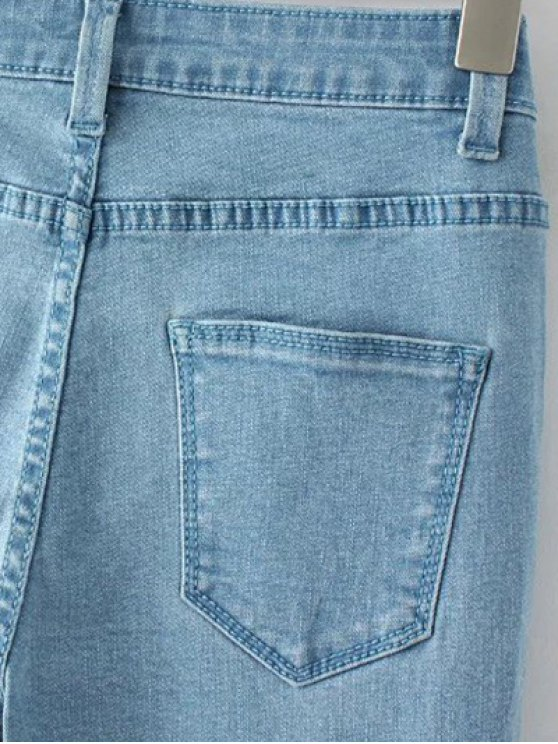 High Waisted Zip Fly Jeans - LIGHT BLUE 4XL Mobile