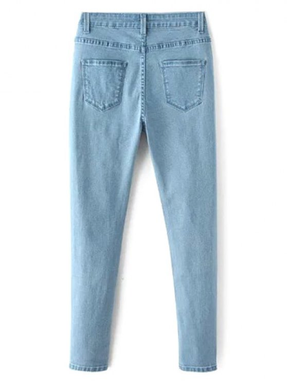 High Waisted Zip Fly Jeans - LIGHT BLUE S Mobile