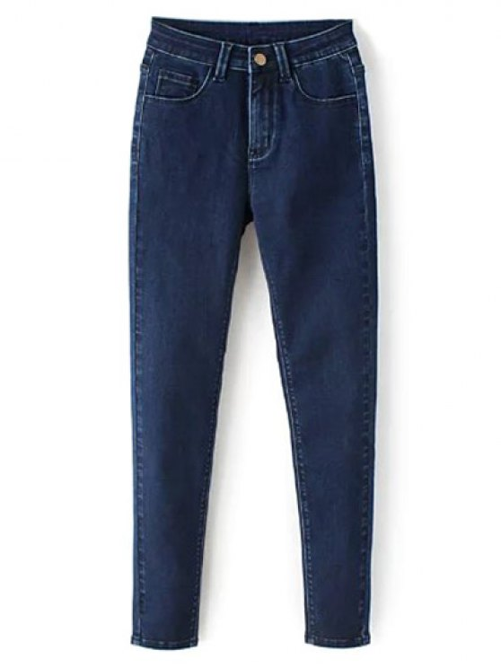 High Waisted Zip Fly Jeans - DEEP BLUE XL Mobile