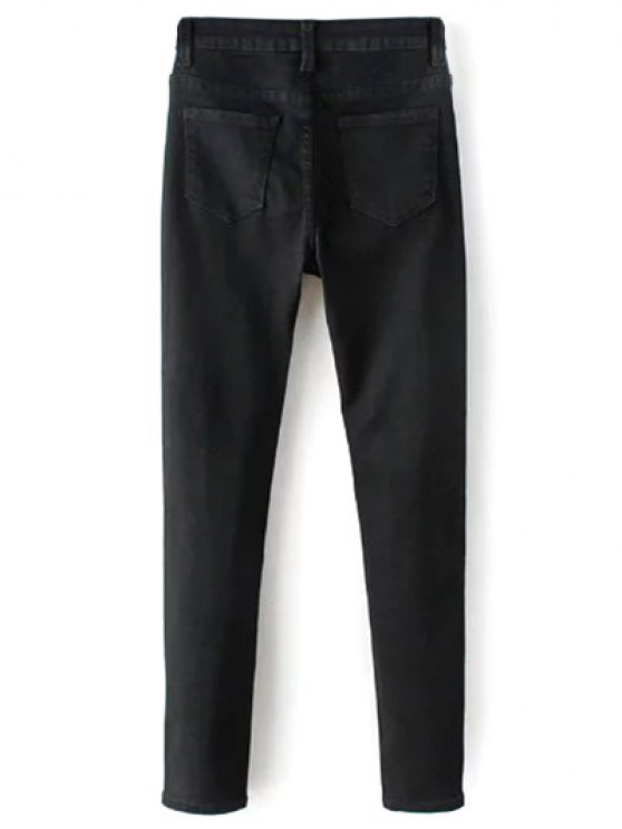 High Waisted Zip Fly Jeans - BLACK 2XL Mobile