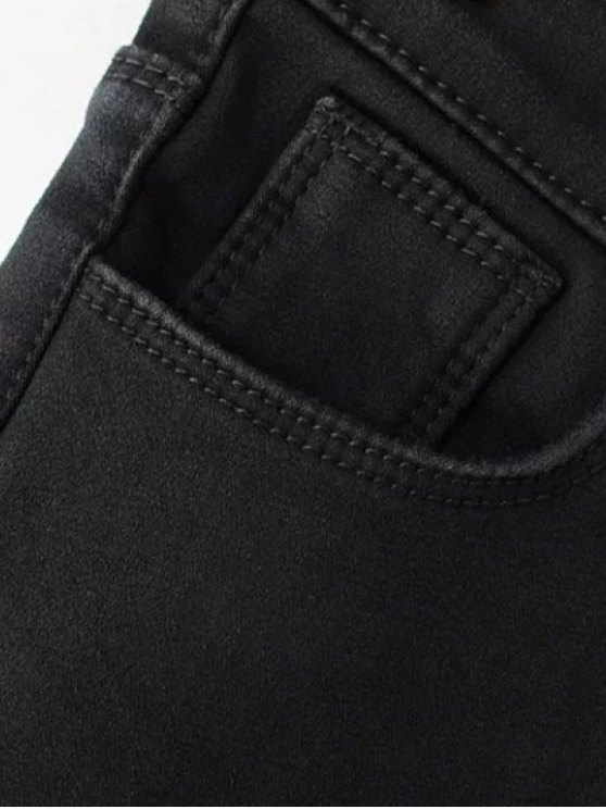 Super Elastic Wool Blend Pencil Jeans - BLACK XL Mobile