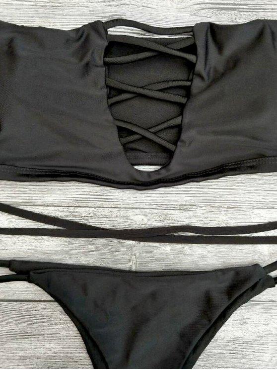 Lace-Up Off The Shoulder Bikini Set - BLACK M Mobile