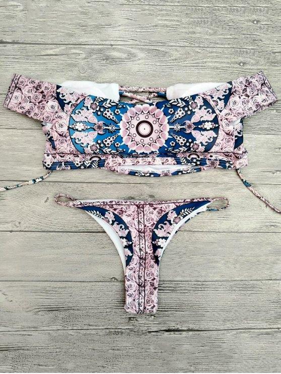 Floral Lace-Up Off The Shoulder Bikini Set - PINK M Mobile