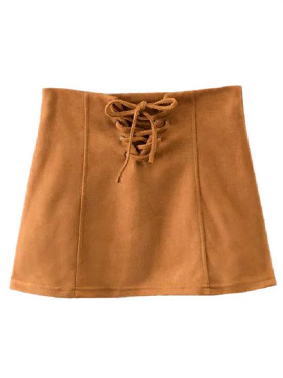 Faux Suede Lace Up Mini Skirt - CAMEL M Mobile