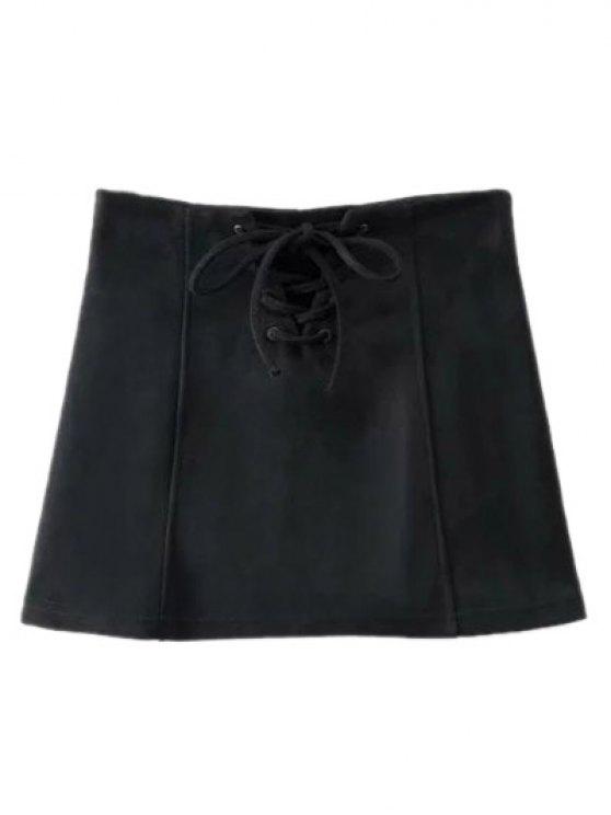 Faux Suede Lace Up Mini Skirt - BLACK L Mobile