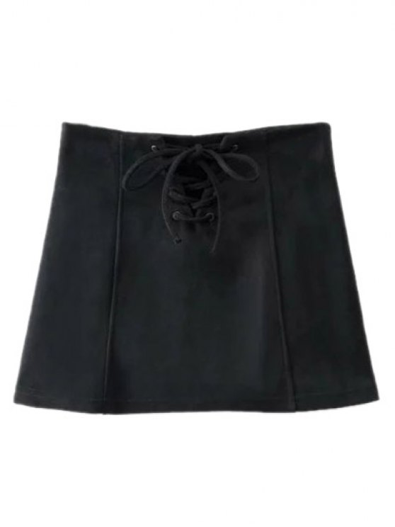Faux Suede Lace Up Mini Skirt - BLACK S Mobile