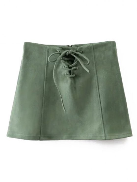 Faux Suede Lace Up Mini Skirt - GREEN M Mobile
