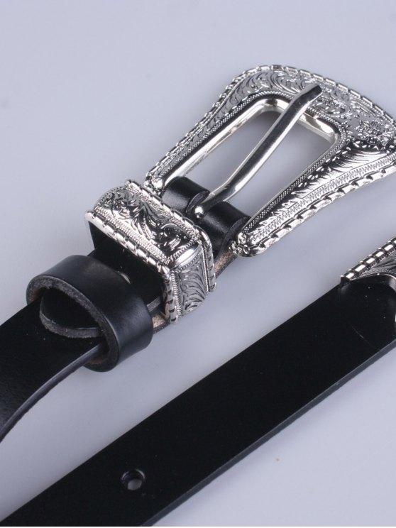 Vintage Pin Buckle Waist Belt - BLACK  Mobile