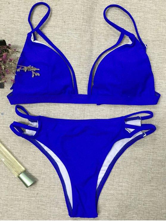 Strappy Thong Bikini - BLUE L Mobile
