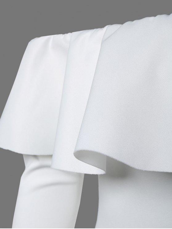 Ruffles Long Sleeve Skinny Bodysuit - WHITE M Mobile