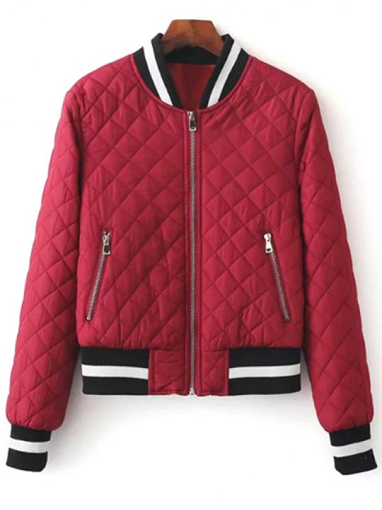 Zip Up Padded Pilot Jacket - WINE RED M Mobile