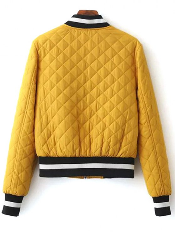 Zip Up Padded Pilot Jacket - YELLOW S Mobile