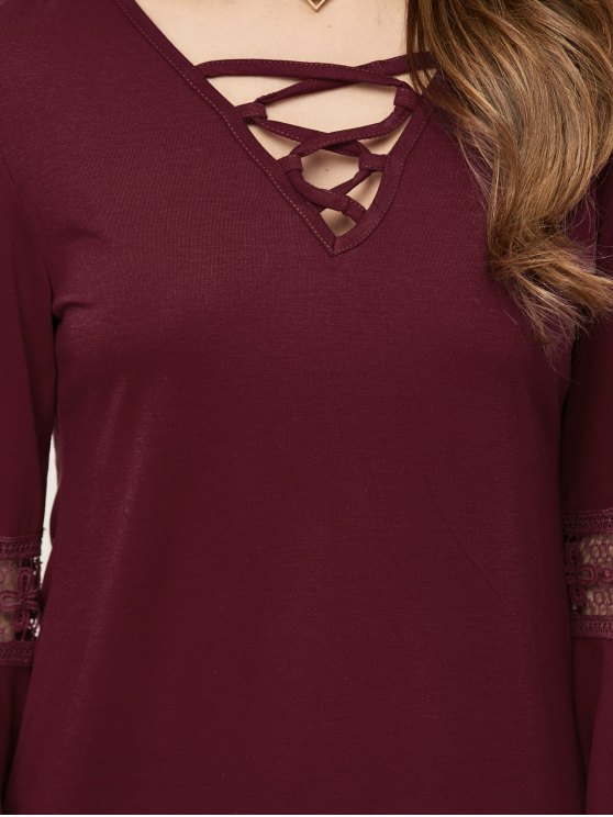 Flare Sleeve Lace-Up T-Shirt - WINE RED M Mobile