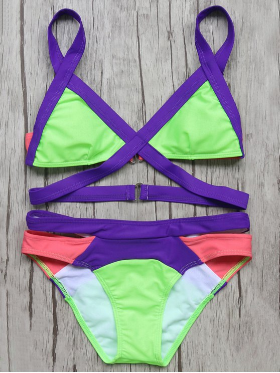 Patchwork Bandage Bikini Set - NEON GREEN L Mobile