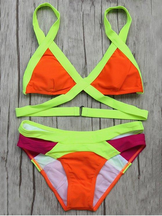 Juego de Bikini con Bandas - rojo, naranja, L