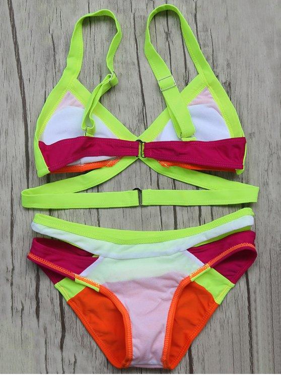 Patchwork Bandage Bikini Set - ORANGE RED M Mobile