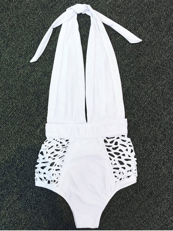 High Waisted Plunge Neck Hollow Out Tummy Control Swimsuit - WHITE M Mobile