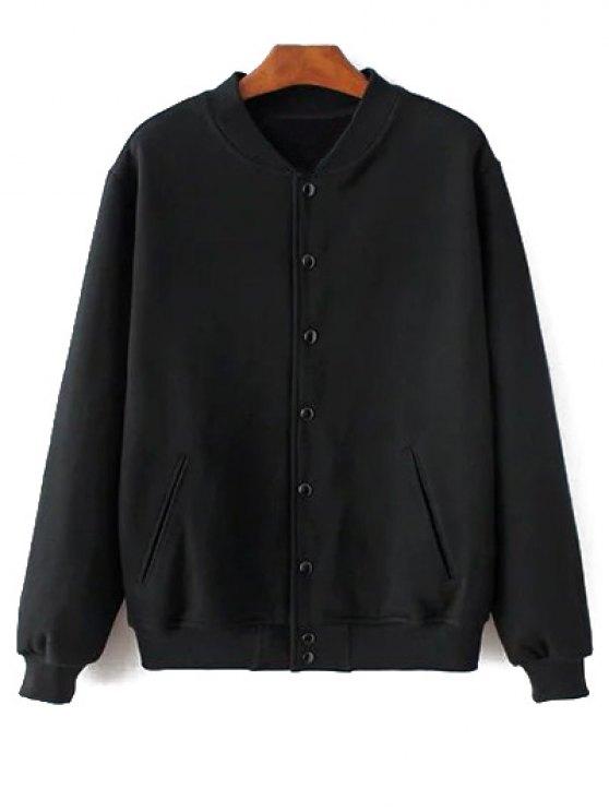 Button Up Baseball Jacket - BLACK L Mobile