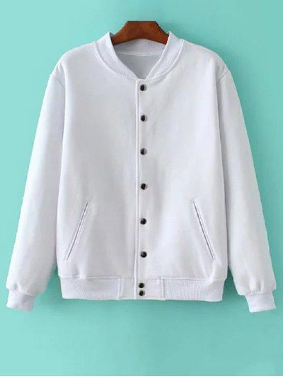 Button Up Baseball Jacket - WHITE XS Mobile