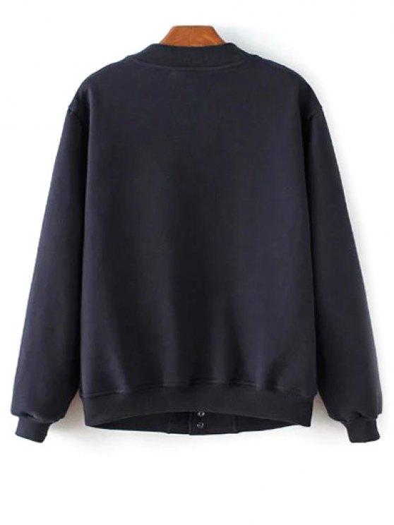 Button Up Baseball Jacket - PURPLISH BLUE XXS Mobile