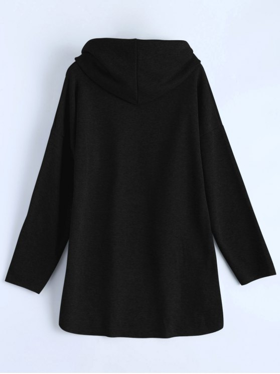 High-Low Tunic Hoodie - BLACK XL Mobile