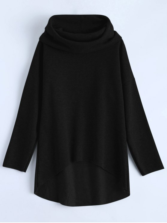 unique High-Low Tunic Hoodie - BLACK S