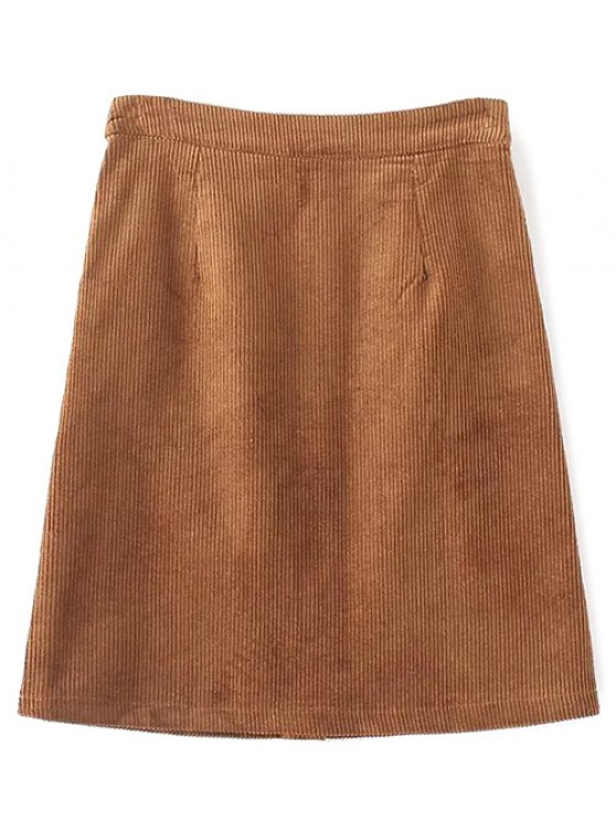 High Waist Single Breasted A-Line Skirt - BROWN S Mobile