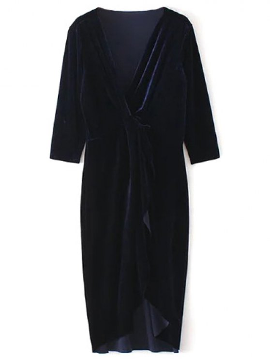 ladies Asymmetric Velvet Midi Wrap Dress - PURPLISH BLUE M
