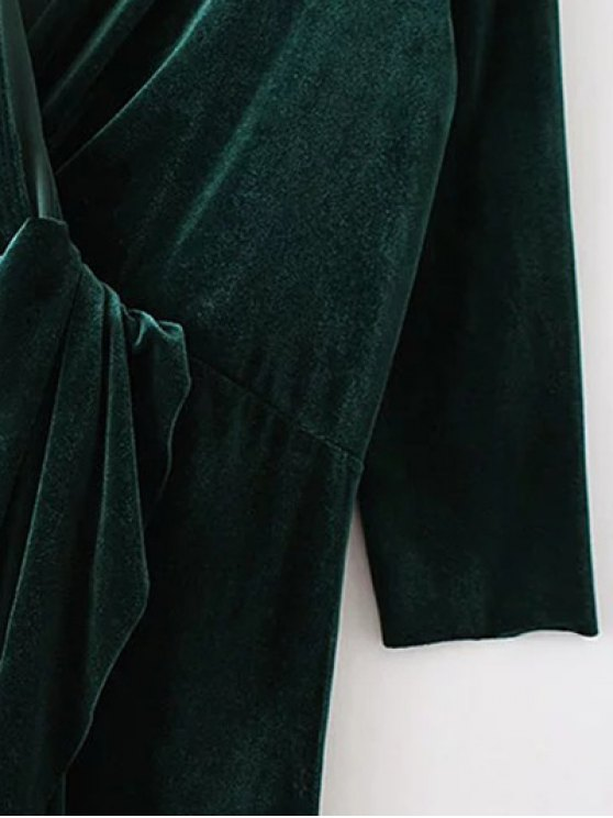 Asymmetric Velvet Midi Wrap Dress - BLACKISH GREEN L Mobile