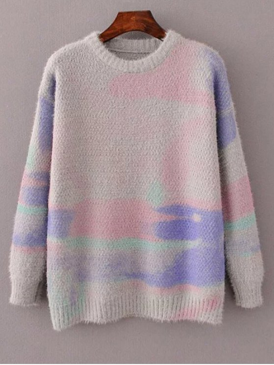 fancy Oversized Space Dye Sweater - GRAY ONE SIZE