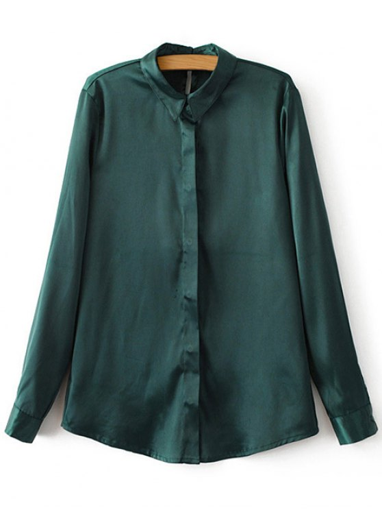 Satins Formal Shirt - GREEN M Mobile